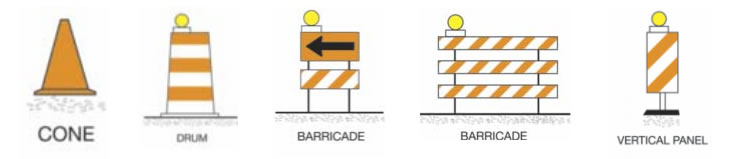 Warning cone, drum, barricade and vertical panel